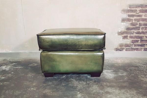 Repose-pieds cuir style indus déco vintage design loft art contemporain