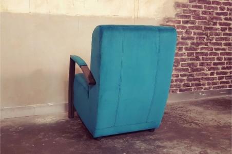 Fauteuil en velours et métal, meuble style industriel, décoration vintage, design contemporain