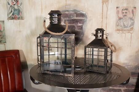Lanternes métal grillage, effet vieilli - lot de 2