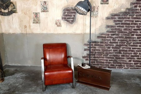 Fauteuil cuir rouge cognac vintage design métal  style indus déco loft