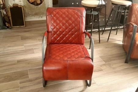 Fauteuil en cuir cognac sombre et métal déco vintage style indus design loft art contemporain