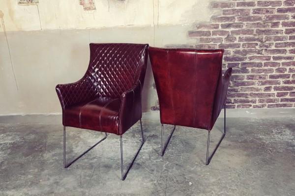 Chaise en cuir tabac et métal déco vintage style indus design loft art contemporain