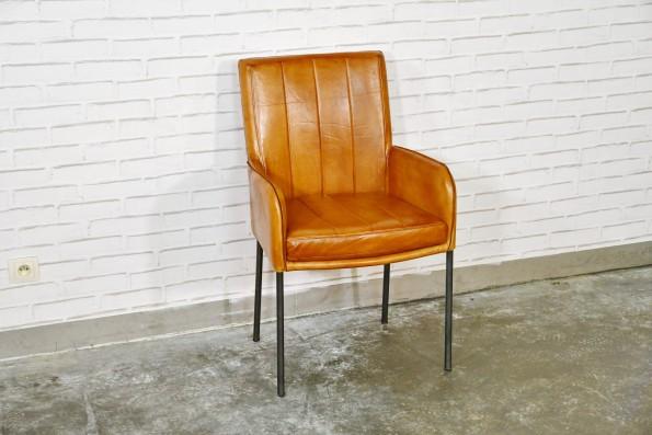 Chaise cuir marron claire camel sombre style fauteuil déco design indus loft vintage