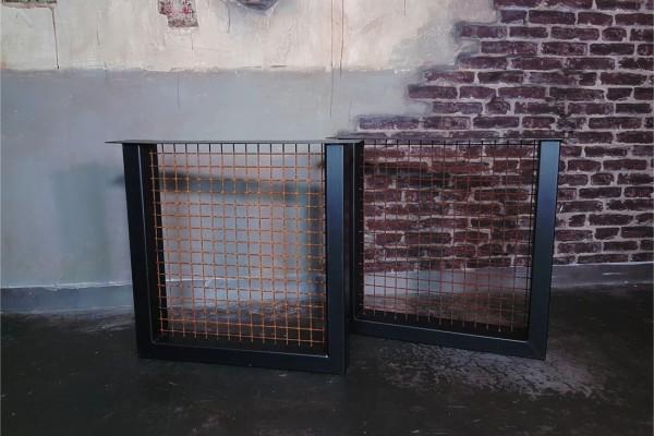 pieds métal carré avec grillage rouille piétement acier style industriel déco indus loft