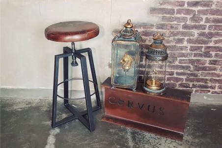 Tabouret en cuir et metal style industriel decoration vintage design loft