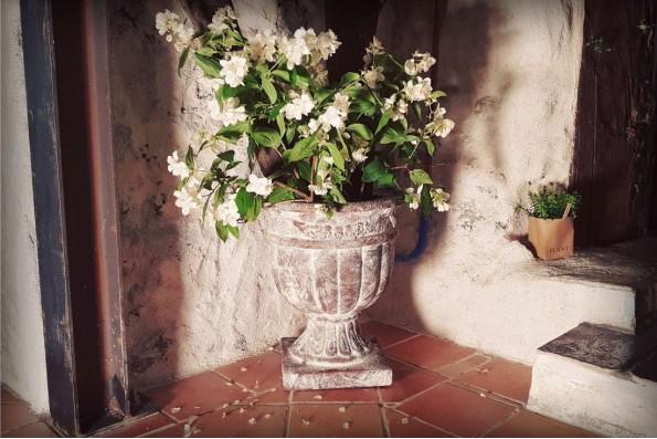 Pot de fleurs Calice, vieilli avec patine blanche et effet rouillé