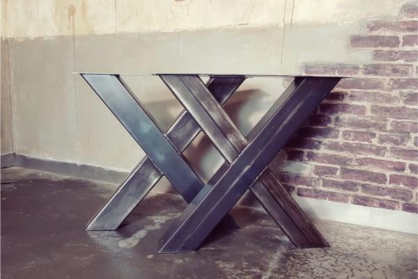 Pieds de table métal design X piétement acier style industriel déco indus loft