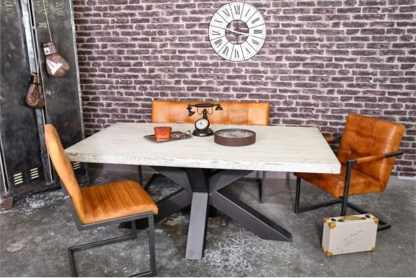 Table 8 personnes plateau bois jasmin vintage design art pieds métal piétement acier style industriel déco indus loft