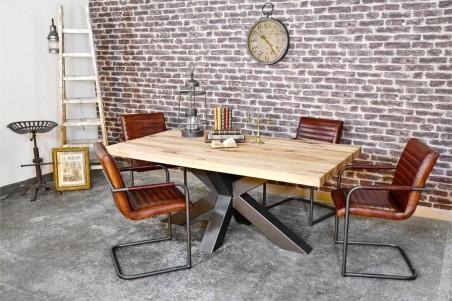 Table 8 personnes plateau bois naturel vintage design art pieds métal piétement acier style industriel déco indus loft