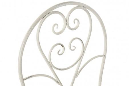 Chaise Chapelle pliable en métal ajouré, blanc vieilli, effet patiné