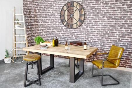 Table 8 personnes plateau bois naturel vintage design U pieds métal piétement acier style industriel déco indus loft