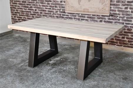 Table 8 personnes plateau bois lin vintage design V pieds métal piétement acier style industriel déco indus loft