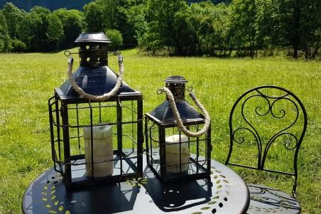 Lanternes jardin métal grillage, effet vieilli - lot de 2