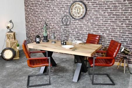 Table 8 personnes plateau bois naturel vintage design X pieds métal piétement acier style industriel déco indus loft