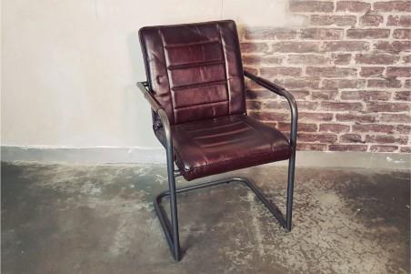 Chaise cuir marron vintage design pieds métal piétement acier style industriel déco indus loft artisanal