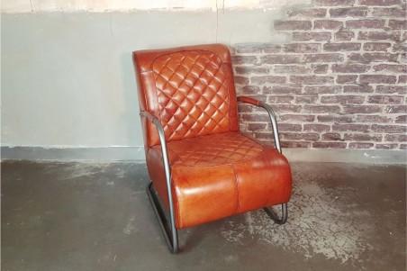Fauteuil en cuir cognac et métal déco vintage style indus design loft art contemporain