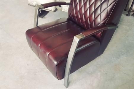 Fauteuil cuir marron  vintage design arlequin pieds métal piétement acier style industriel déco indus loft