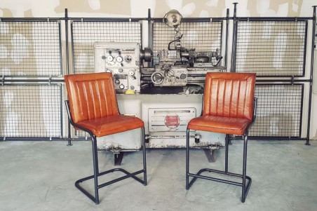 Chaise haute en cuir et métal chaise bar chaise îlot central déco vintage style indus design loft art contemporain
