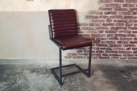 Chaise de bar cuir marron vintage design rayures pieds métal piétement acier style industriel déco indus loft
