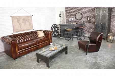 Fauteuil cuir marron tabac vintage design coutures pieds métal piétement acier style industriel déco indus loft