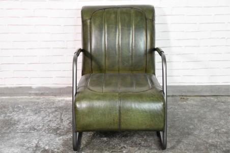 Fauteuil cuir vert armée vintage design métal  style indus déco loft