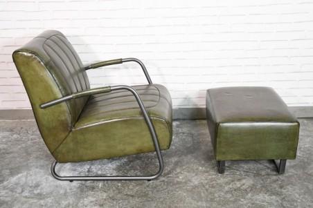 Fauteuil et repose pieds cuir vert armée vintage design métal  style indus déco loft