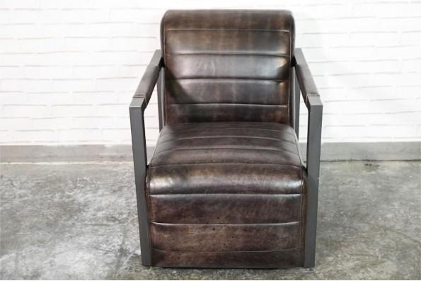 Fauteuil en cuir noir couleur cuba vintage design métal déco indus loft