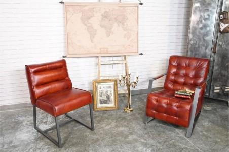 Fauteuil en cuir rouge couleur cognac sombre  vintage design métal déco indus loft