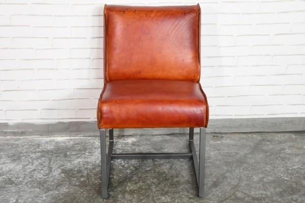 Chaise cuir marron cognac confort style american dinner déco design indus loft vintage