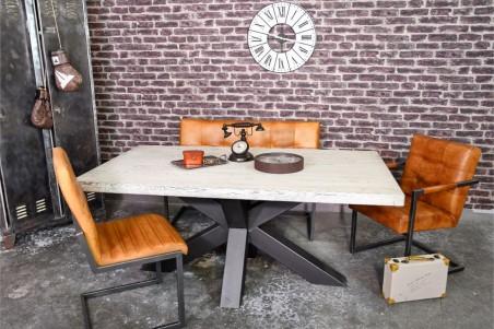 Chaise confort en cuir marron claire camel sombre vintage design métal déco indus loft