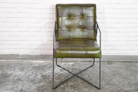 Chaise confort couleur vert armée vintage design métal déco indus loft