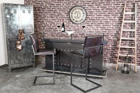 Chaise de bar cuir noir cuba vintage design quadrillé pieds métal piétement acier style industriel déco indus loft