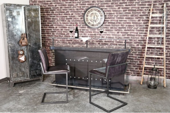 Chaise de bar cuir noir cuba vintage design rayé pieds métal piétement acier style industriel déco indus loft