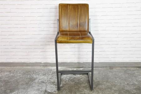 Chaise de bar cuir vert olive vintage design rayé pieds métal piétement acier style industriel déco indus loft
