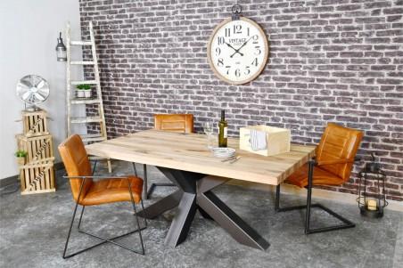 Chaise cuir marron camel sombre vintage design volets  pieds métal filaire piétement acier style industriel déco indus loft