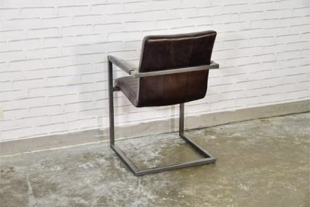 Chaise avec accoudoirs cuir noir cuba vintage design rayures pieds métal piétement acier style industriel déco indus loft