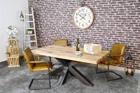Chaise cuir vert olive vintage design volets  pieds métal  piétement acier style industriel déco indus loft