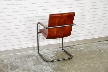 Chaise cuir marron tabac vintage design volets  pieds métal  piétement acier style industriel déco indus loft