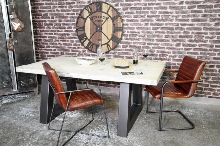 Chaise cuir marron tabac vintage design filaire métal géométrique déco indus loft