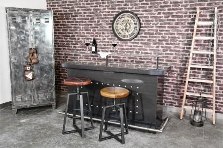 Tabourets cuir marron tabac et vert olive vintage design pieds métal piétement acier style industriel déco indus loft