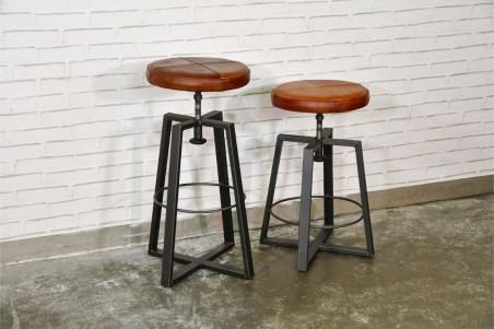 Tabourets cuir marron tabac cognac vintage design pieds métal piétement acier style industriel déco indus loft