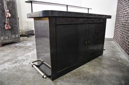Bar métal vintage design acier vernis plateau verre déco indus loft