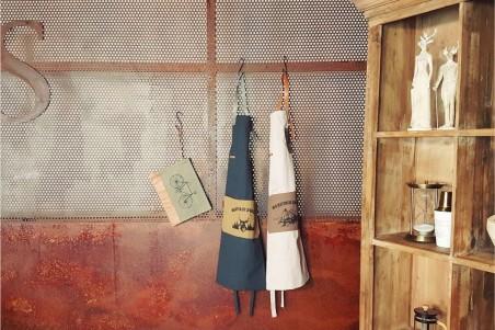 Tablier cuisine lin cuir déco vintage décoration style industriel barbecue