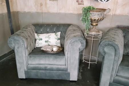 """Fauteuil velours vintage design """"chesterfield"""" style industriel déco indus loft"""