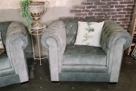 """Fauteuil velours gris vintage design """"chesterfield"""" style industriel déco indus loft"""