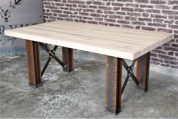 Table poutrelles HEA en acier rouillé décoration style industriel loft vintage steampunk design  esprit récup