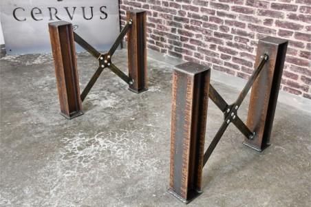 Pieds de table poutrelles HEA en acier rouillé décoration style industriel loft vintage steampunk design  esprit récup