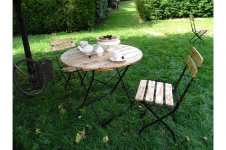 Table bistrot ronde jardin bois d'acacia et acier style industriel déco vintage
