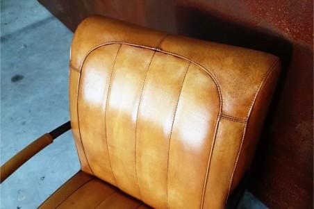 Fauteuil cuir camel vintage design métal  style indus déco loft