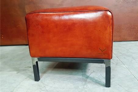 Repose pieds en cuir pour fauteuil, pouf cuir, déco vintage, meuble style industriel, design loft